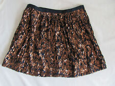 J.Crew Navy Copper Abstract Sequin Skirt - A Line Above Knee  -Size 16 NWT