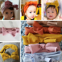 Baby Girls Soft Crochet Knitted Cross Bowknot Headband Turban Elastic Hair Band