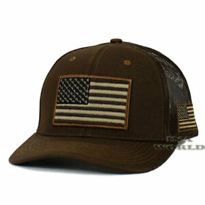USA AMERICAN Flag Hat Cap Tactical Military Snapback Mesh Trucker Baseball Cap