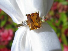 Citrine Diamond Ring 14K White Gold Solitaire Yellow Orange Fine Jewelry Size 6