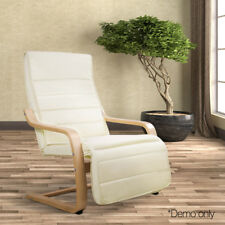 Adjustable Birch Bentwood Recliner Lounge Arm Chair w/100% Cotton Fabric Cushion
