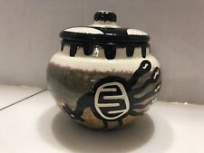 1948 1979 MANA POTTERY POT WITH LID Apache rooster image signed rare