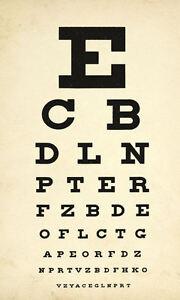 Framed Print - Antique Eye Chart (Picture Poster Snellen Optician Glasses Test)