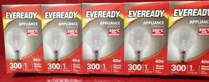 10x Eveready Oven Lamp 40W SES GLS Lamps S1024 Heat Resistance 300 Oven Bulbs