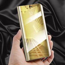 para Samsung Galaxy J7 j730f 2017 Transparente Ver Smart Funda Oro Bolsa Wake Up