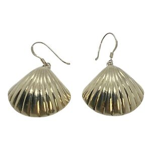 Vintage Puffy 3D Sterling Silver Shell Earrings