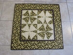 """Hand Made Quilted Table Runner/ Topper /Mat ~ 24"""" sq. ~ Brown, Gold, Off White"""