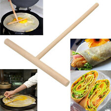 2X Wooden Rake Round Batter Pancake Crepe Spreader Kitchen Tool Kit DIY 15cm TSU