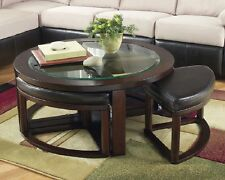 Cocktail Table w/4 Stools High Quality Faux Leather Dark Brown Ashley Designed