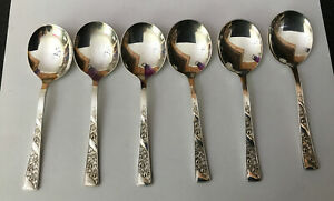 Vintage 6 X Sheffield 14cm Silver Plated Fruit Spoons Rose Floral Unknown Maker