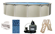 "Above Ground 18'x48"" Round Impressions Swimming Pool w/ Liner, Ladder & Filter"