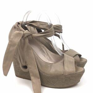 Anthropologie Kooba Sz 9.5 Wedge Heel Ankle Tie Leather Italy Tan Platform