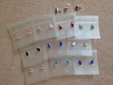 JOB LOT 10 pairs of pear shape diamonte stud earrings.Silver plated.UK handmade.