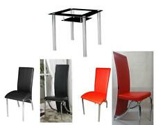 COMPACT SMALL BLACK/RED/CLEAR GLASS CHROME DINING TABLE AND 2 CHAIRS SET 80x80CM