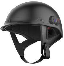 Sena Bluetooth Matte Flat Black Calvary Integrated Motorcycle Half Helmet LG