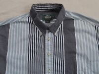 woolrich Men's All Cotton L/S Button Down Blue & white Striped Dress Shirt - XL