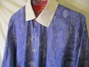 Large Bright Purple Paisley ROBERT GRAHAM 100% Cotton Flip-Cuff Shirt