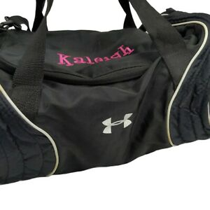 Under Armour Womens Gym Duffle Bag Black, White Trim. Embroidered Name: Kaleigh