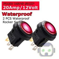 2X 12V 20A Waterproof Round Red On/Off Rocker Switch Car Auto Boat SPST Marine