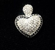 Clear Crystals Heart Pendant Silver Rhodium Plated Black &