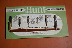 *VINTAGE* Hunt Crowquill Penholder 102 Art and Mapping Pen Tips on Card ORIGINAL
