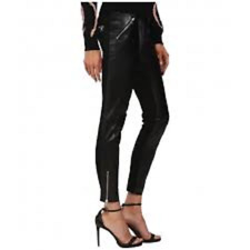 RED VALENTINO Women's Leather Pants With Jersey Ponte Panels Nero 44 (US 6) X 28