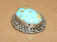 """Vintage Sterling Silver Filigree Faux Turquoise Art Glass Necklace Pendant 1.25"""""""