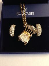 Swarovski Crystal Earrings w/ Gold & Crystal Rocking Chair Necklace Signed - New