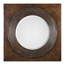 "Dark Bronze 36"" Square Wall Mirror | Round Ribbed Brown Masculine"
