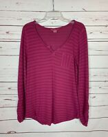 Lucky Brand Women's L Large Magenta V Neck Long Sleeve Cute Spring Top Shirt Tee