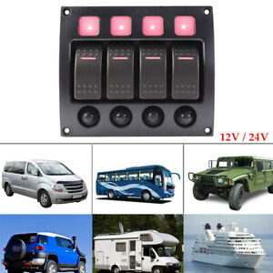 4 Gang LED Rocker Switch Panel W/ Circuit Breakers For RV Car Marine Boat 1PC