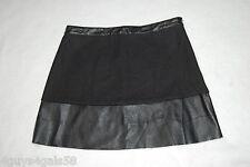 Womens BLACK A LINE MINI SKIRT Tweed & Faux Leather SIDE ZIP Raw Hem SIZE S 4-6