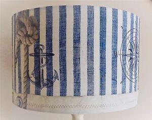Blue & white  Stripe Lampshade Shabby Chic  vintage nautical bathroom  FREEGIFT