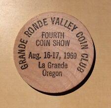 La Grande Oregon Valley Coin Club 4th Coin Show 1969 Indian Arts - Wooden Nickel