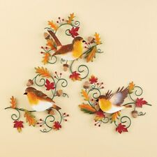 Set of 3 Robins and Fall Leaves Metal Thanksgving Wall Art Décor