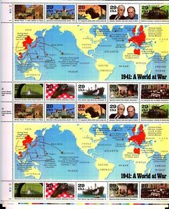 USA stamp 1991  Sheetlet 1941 A World at War   SG 2611/20  as issued Mint