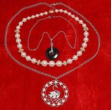 Sarah Coventry Swan Lake Vintage Necklaces Lot Faux Pearls Pendants Rhinestones