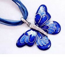 Diamanté Enamel Butterfly Pendant Necklace Red Black Or Blue For Gift Present