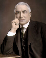 "WARREN GAMALIEL HARDING 1920 29th US PRESIDENT 8x10"" HAND COLOR TINTED PHOTO"