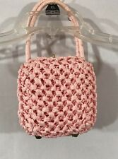 Vintage Barbara Lee Box Rafia Pink Easter Purse Made In Italy