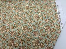 "Green & Gold Baroque ""Zinnia"" Printed 100% Cotton Curtain Fabric"