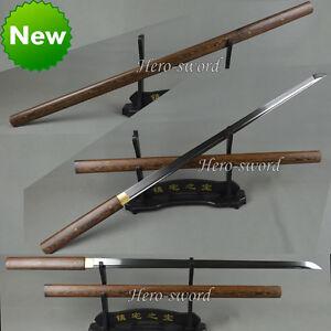 Handmade HuaLee-Wood-Japanese-Sword-Shirasaya-Sharp Katana Full Tang T1095 Ninja