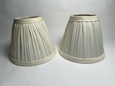 Set of two (2) Pleated Cloth Covered Lampshade Ivory 2.5 X 4 X 5 Inches