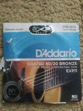 D'Addario coated 80/20 Bronze Acoustic Guitar Strings - Light .012-.053 EXP11