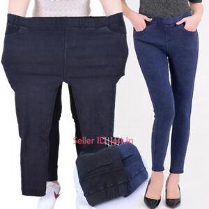 New Women Stretchy Denim Pencil Pants Leggings High Waist Trouser Jeans Elastic