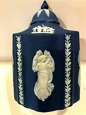 "C.1891 ~ RARE ~ WEDGWOOD JASPERWARE COBALT  BLUE TEA ""POY"" (SILVER) ~ ""ZEPHYR"""