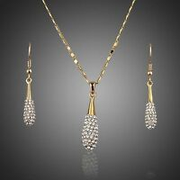 Gold Plated Swarovski Elements Water Drop Crystal Jewellery Set Necklace Earring