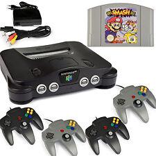 N64 / Nintendo 64 Konsole + 4 Controller Schwarz / Grau Neu + Super Smash Bros