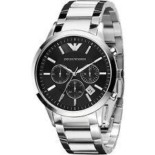 NUOVO EMPORIO ARMANI AR2434 argento nero orologio cronografo di marca-UK Venditore