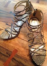 ANNE MICHELLE Strappy Stiletto Pumps  Womens Size 8 1/2 Reptile shoes 4 Spring!